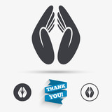 Pray hands sign icon. Religion priest symbol.