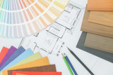 Sample of matterial, color pallette and color pencil on a paper of architectural drawing