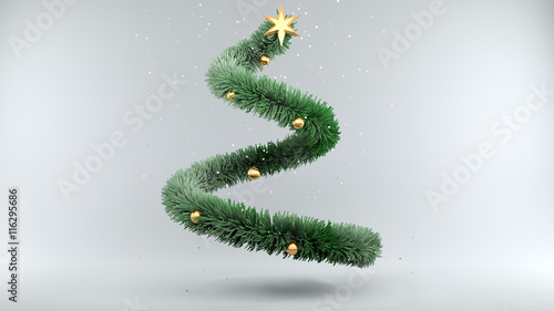 Zdjęcia na płótnie, fototapety, obrazy : Christmas Tree with Snow on gray Background