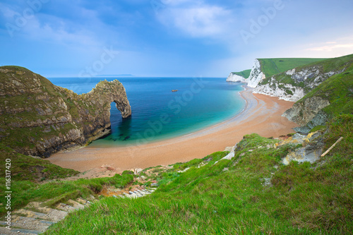 Poster Durdle Door at the beach on the Jurassic Coast of Dorset, UK