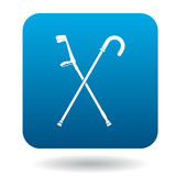 Cane and crutch icon in simple style on a white background