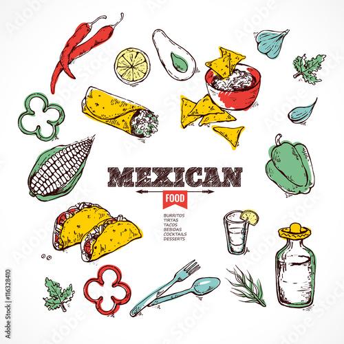 handdrawn icons Mexican food. © Yamshanova
