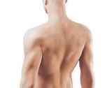 Schiena di uomo 3d nudo con muscoli