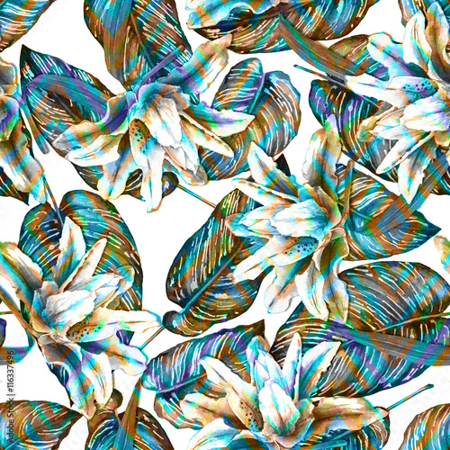 Seamless tropical floral pattern. Oriental pink lilies and exotic calathea leaves on geometric ornament, blended effect. Monochrome with color accents. Hand painted watercolor. Fabric texture. - 116337496