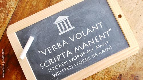 Verba volant scripta manent. Latin phrase meaning