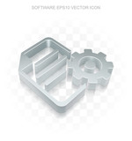 Programming icon: Flat metallic 3d Gear, transparent shadow, EPS 10 vector illustration.