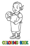 Funny nanny with baby. Coloring book.