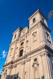 Baroque facade of the parish church of St. Nicholas in Leszno.