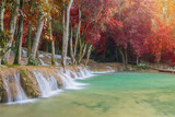 Fototapety Waterfall in rain forest (Tad Sae Waterfalls at Luang prabang, L