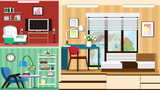 Modern graphic set of stylish room furniture. Room interior design. Flat style vector illustration.