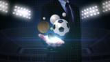 Businessman open palm, various sports ball, baseball, soccer ball, basketball, volleyball, tennis ball, rugby ball.
