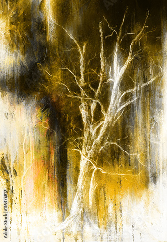 Painting tree in night landscape and abstract grunge background with spots, original hand draw and computer collage. - 116376812