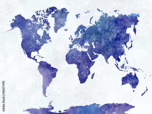 Poster World map in watercolor