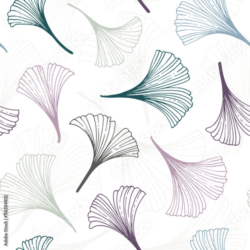 Seamless background with ginkgo biloba leaves - 116384402