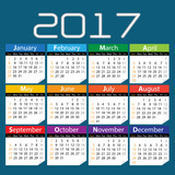 Calendar 2017 colors design on blue background vector illustration.