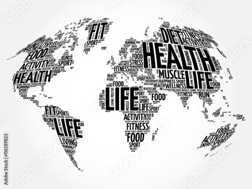 Fototapeta Health and Life World Map in Typography, sport, health, fitness word cloud concept