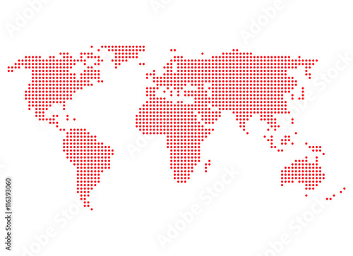 Aluminium Wereldkaarten Weltkarte rote Punkte