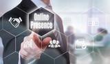A businessman selecting a Online Presence Concept button on a hexagonal screen
