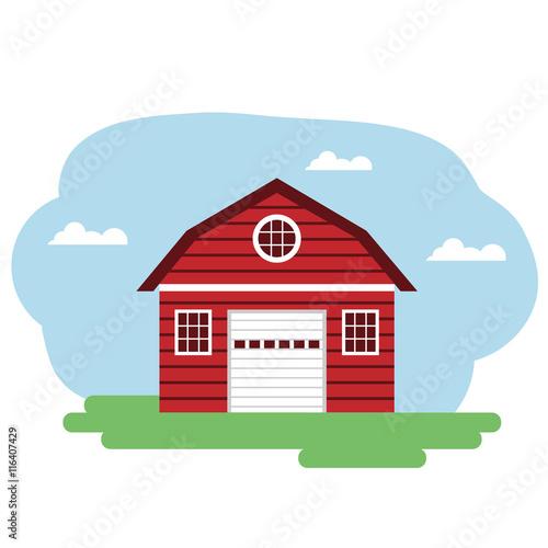Fotobehang Boerderij Vector illustration of red farm building.