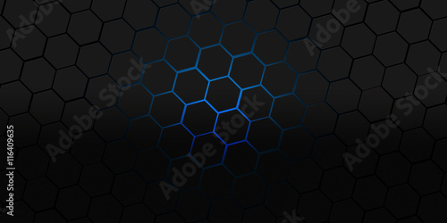 black and blue hexagons modern background illustration