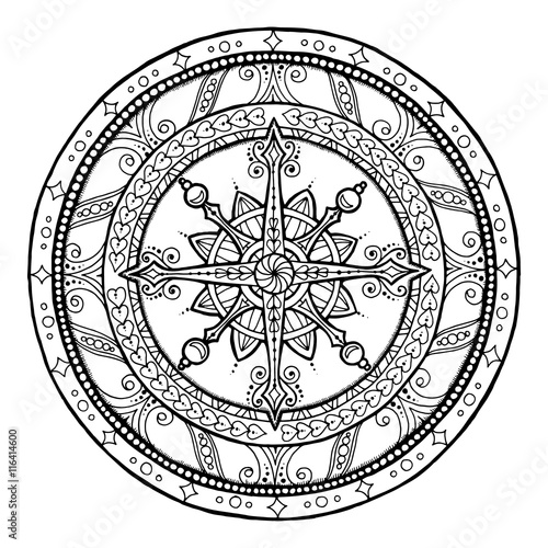 Christmas theme. Doodle snowflake on ethnic circle ornament. Hand drawn art winter mandala.