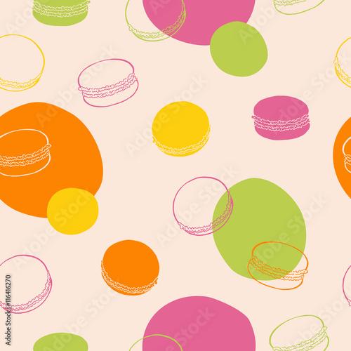Fototapeta Macaroon seamless pattern sweet food pink green yellow orange color graphic art illustration vector