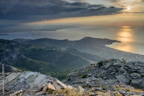Zdjęcia na płótnie, fototapety, obrazy : Sunrise over Thassos Island, Greece - view from Mount Ipsarion - beautiful sunlight over the sea - amazing seascape