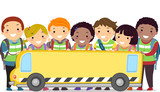 Stickman Kids School Bus Banner
