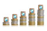 Increase revenues concept with coins ladder and arrows