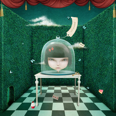 Conceptual  illustration  head of  girl under glass cover.