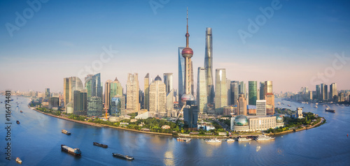 Plakat Shanghai skyline with modern urban skyscrapers