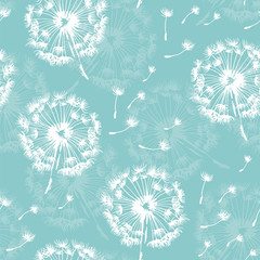 Seamless dandelion pattern, vector plant and seeds illustration