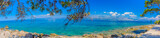 Fototapety Croatia coast summer panorama. / Colorful landscape of Croatian coast, capture on Island of Brac, panorama view.