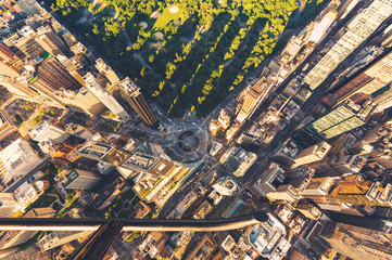 Helicopter view of Columbus Circle and Central Park in New York City