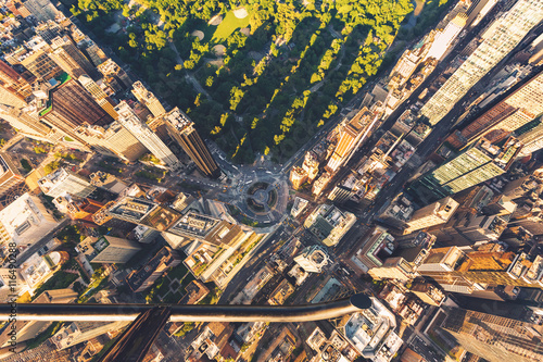Zdjęcia na płótnie, fototapety, obrazy : Helicopter view of Columbus Circle and Central Park in New York City