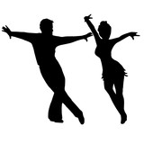 High quality pair dancing isolated on white background. she and