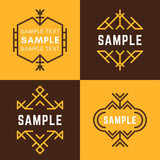 Set of Four Line Art Decorative Geometric Vector Frames and Borders with Brown and Yellow Backgrounds. Vector Ornaments, Vector Decoration, Line Ornament, Vector Logos, Vector Labels