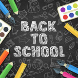 Back to school vector sketch lettering and color school supplies icons. Doodle school illustration background. Design for poster or banner. Education concept.