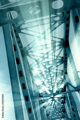 Railway metal bridge perspective view Poster