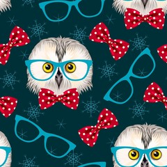Owl with glasses seamless