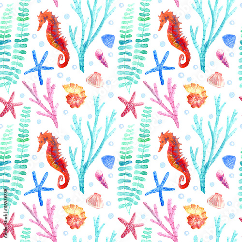 Cotton fabric Seahorse, shell, starfish, seaweed, coral and bubbles seamless pattern.Underwater world image on a white background.Watercolor hand drawn illustration.