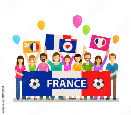 Soccer, championship, sport icon. Fans of France on the podium with posters. Vector illustration