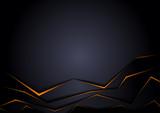 Fototapety Black Background with Orange Edges - Modern Geometric Illustration, Vector