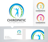 Chiropractic center vector logo with alternative colors and business card template