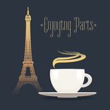 French Eiffel tower and coffee with steam vector illustration