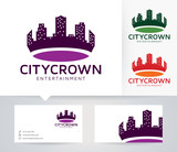 City Crown vector logo with alternative colors and business card template