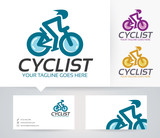 cyclist vector logo with alternative colors and business card template