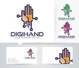 Digital Hand vector logo with alternative colors and business card template
