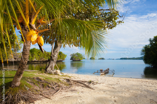 Photo Untouched Tropical Beach in Bali Island. Horizontal Picture.