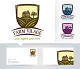 farm village vector logo with alternative colors and business card template